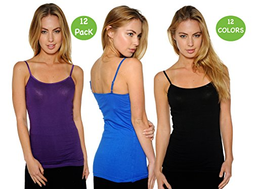 Unique Styles 12-Pack Big Girls Seamless Solid Color Camisole Tank Tops (X-Large)