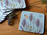 Creative Tops Royal Botanic Gardens Kew Lavender Edge Cork Back Coasters, Set of 6, Silver
