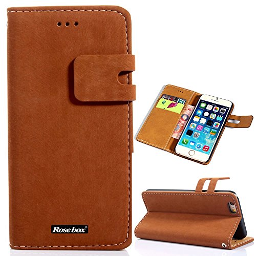 RoseBox® iPhone 6 Plus Case Apple iPhone 6 Plus Case 5.5 Inch Leather Case Fashion Luxury Designer Rat leather PU Leather cell phone Holster combo dual-use Flip Case Cover with Credit Card Holder Slots Fit For Apple iPhone 6 Plus 5.5 Inch (Rat leather Style24)