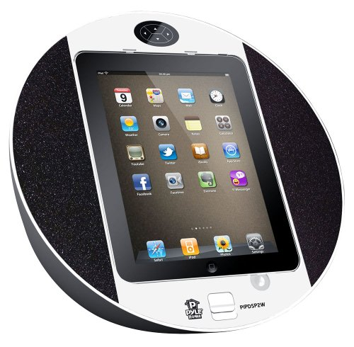 Pyle Home PIPDSP2W Touch Screen Dock with Built-In FM Radio/Alarm Clock for iPod, iPhone and iPad (White)