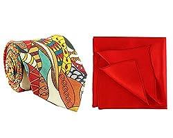 Chokore Multi Coloured Silk Tie & Red Silk Pocket Square set