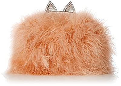 BCBG Cat Ear Knuckleduster with Ostrich Feather Body Evening Bag