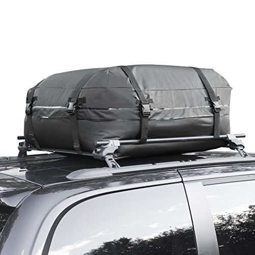 Cargo Roof Bag - 100% Waterproof Car Top Carrier - Easy to Install Soft Rooftop Luggage Carriers with Wide Straps - Ample Storage Space - Folds Easily - Best for Traveling, Cars, Vans, SUVs (Black) (Roof Rack Waterproof Bag compare prices)