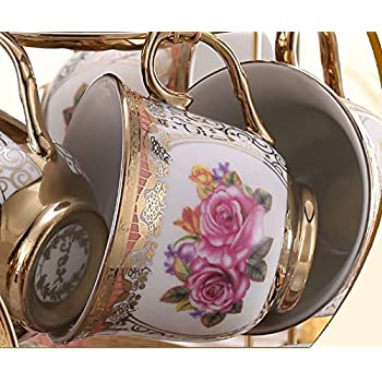 ufengkeWedding Birthday 13 Piece Gold Red Flower European-Style Chinese Ceramic Tea Set Tea Service