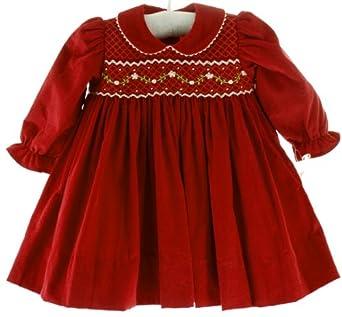 Amazon Baby Girls Long Sleeve Red Smocked Christmas