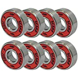 ABEC 9 Bearings Skateboard Deck Longboard Red Silver 1 set of 8 (101005003128)