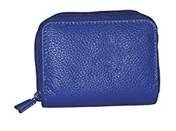 Buxton Womens Leather Mini Accordion Wizard Wallet, Ultramarine Blue