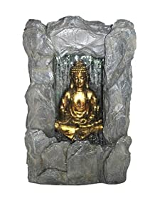 "Welland 31"" Golden Buddha Waterfall Fountain with a Wall of Water Illuminated by an underwater LED light For Outdoor or Indoor Use"