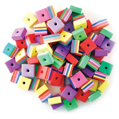 Krafty Kids: Fun Foam Assorted Fiesta Beads 8mm 88/Pkg-Square - 1