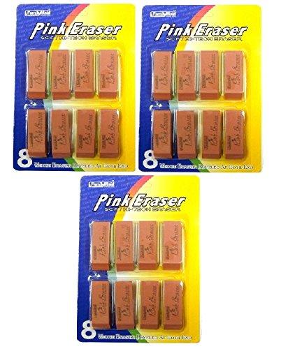 3 Pk, FamilyMaid 8ct Pink, Soft Hi-Tech Erasers - 1