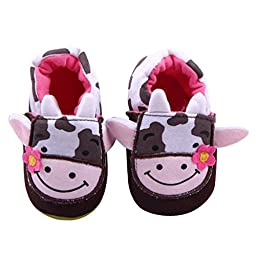 Aivtalk Toddler Baby Knitted Cartoon Shoes Red Flower Cow Printed Soft Crib Shoes Kids Shoes Size 11 - Red
