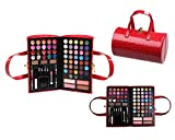 Cameo Cosmetics 76pc Pro Make Up Set With Reusable Red Purse Carrying Case Premium Collection; Eyeshadows, Blushes, Lipsticks, Lip Glosses, Body Glitters, Lip Colors, Eyebrow Powders, Pencils, Applicators, Brush