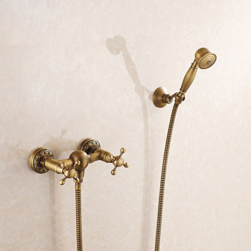Rozin Antique Brass Wall Mount Mixer With Handheld Showerhead front-503404