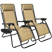2-Pack Zero Gravity Lounge Patio Outdoor Chairs (Tan)