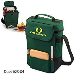 Oregon Ducks Duet Insulated Wine and Cheese Tote - Hunter Green w/Digital Print