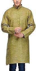 Gazi Men's Khadi Cotton Kurta (GFSK_201539_36, Green, 36)