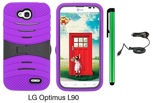 Premium Ucase With Kickstand Cover Case For Lg Optimus L90 (D415) (Us Carrier: T-Mobile) + Car Charger + 1 Of New Assorted Color Metal Stylus Touch Screen Pen (Purple / Black) front-239753
