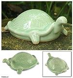 Celadon ceramic statuette, Lucky Turtle