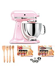 KitchenAid KSM150PSPK Komen Foundation Artisan Series 5-Quart Mixer, Pink + 4-piece Stainless Steel Measuring Cup Set + Kamenstein Mini... by KitchenAid