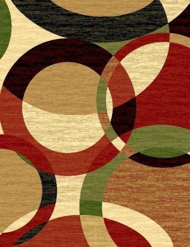 T1011 Black Cream Green Rust Burgundy Abstract Area Rug