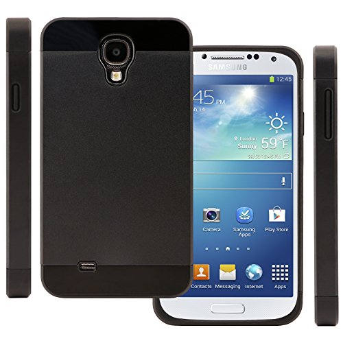 Celljoy Hybrid Tpu 2Pc Layered Hard Case Rubber Bumper For Samsung Galaxy S4 Siv (At&T / Verizon / Us Cellular / Sprint / T-Mobile / Unlocked) [Celljoy Retail Packaging] (Slate / Black)