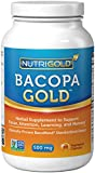 NutriGold Bacopa GOLD - 500 mg, 90 Vegetarian Capsules (Pure Bacopa Monnieri Extract Memory Supplement)