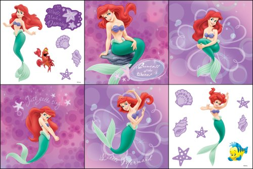 Blue Mountain Wallcoverings 31720485 Little Mermaid Self-Stick Decorating Kit