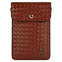 Vangoddy Braided PU Leather Cell Phone Bag Pouch Case for Samsung Galaxy S5 / S4 / SIII / Active / Zoom / Mini (Brown)