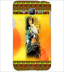 PrintDhaba Girl with Gun D-4590 Back Case Cover for SAMSUNG GALAXY J2 (Multi-Coloured)