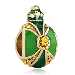 Pugster 22k Golden Crown Peridot Green Yellow Drip Gum Light Topaz Crystal Faberge Egg Beads Fits Pandora Charms Bracelets
