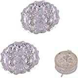 GS MUSEUM Silver Plated Rani Kumkum Plate 2 Sets And Silver Plated Jali Coin Box