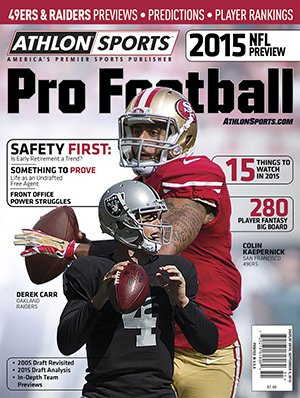 Athlon Sports 2015 NFL Pro Football Magazine Preview- San Francisco 49ers/Oakland Raiders Cover