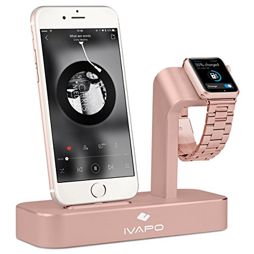 2 en 1 Station de Recharge , iVAPO Station de Charge pour Apple watch series 2 / series 1 / Nike + et iPhone Station d'accueil Aluminum pour iPhone