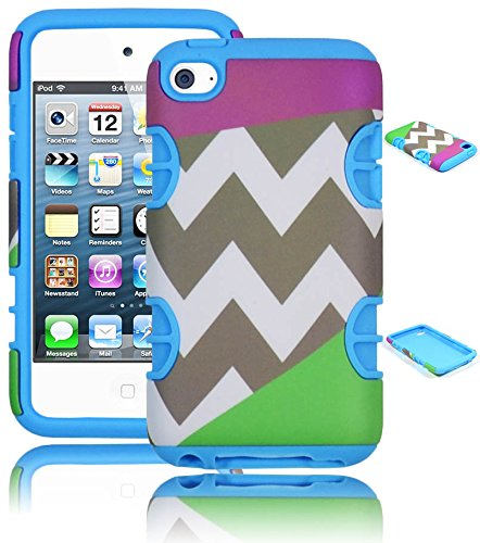 Bastex Hybrid Hard Case For Apple Ipod Touch 4, 4Th Generation - Sky Blue Silicone With Purple & Green Chevron Pattern Shell Cover front-463212