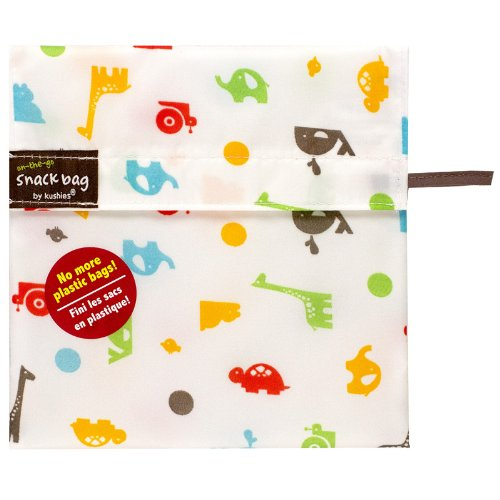 Kushies Baby Kushies On The Go Snack Bag, Animal Print, Medium
