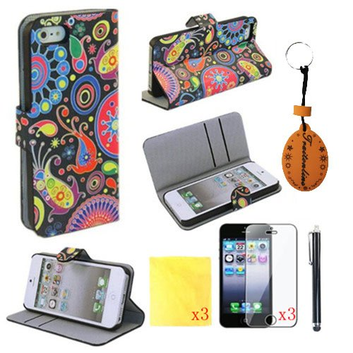 8IN1 Magic Pattern PU Leather Wallet Cases Protective Skin for iphone 5 for iphone 5s Flip Folio Case Stand Holder+touch Screen Pen +3* Screen Protector +3* Cleaning Cloth