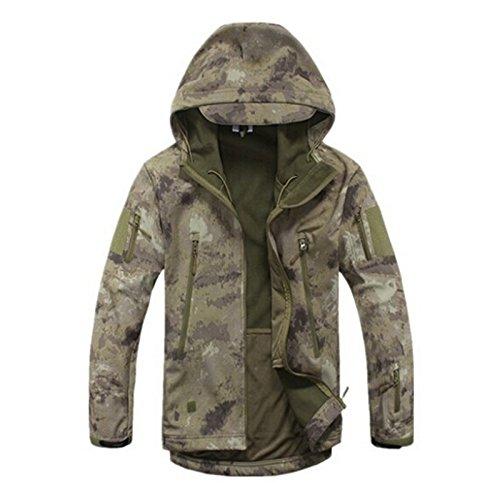 Impermeabile militare combattimento tattico Softshell Jacket escursione di campeggio esterna camuffamento cappotto del Hoodie (Ruins, S)