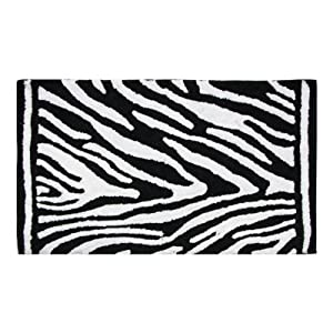 Lacey Mills Cotton Bath Rug 21 By 34 Inch Zebra Black And White Kitchen Home