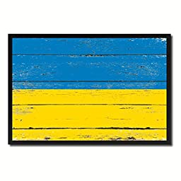 Ukraine National Shabby Chic Flag Art Canvas Print Wall Home Décor Interior Design Souvenir Gift Ideas