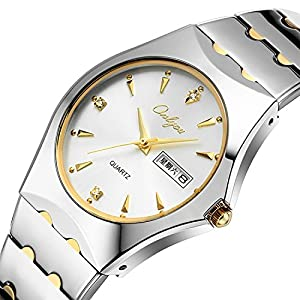 Mens Luxury Gold Watches Waterproof Analog and English Calendar Diamond Gold Watch with Steel Band