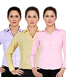 NGT Women's Purple, Lemon Yellow, And Pink Formal Shirts Of Cotton