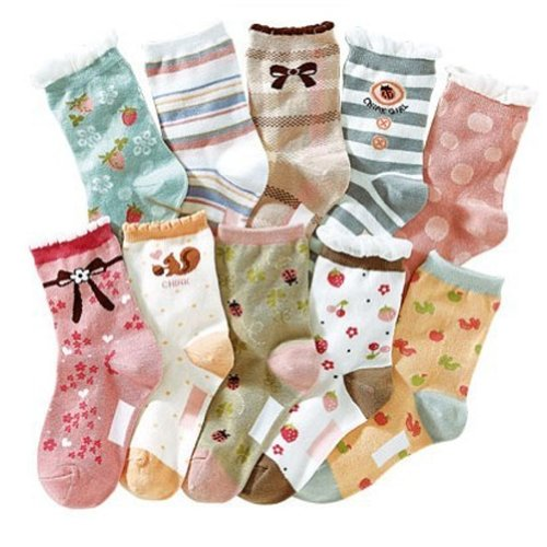 Deer Mum 10X Pairs Girl'S Colorful Differnt Patterns Socks front-389406