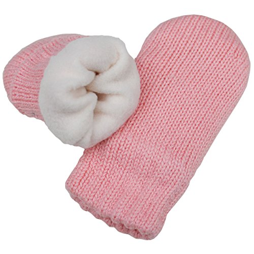 Baby toddler girl warm fall winter mittens fleece lined (Mitten S: 0-9m, Pink)