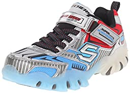 Skechers Boys\' Hot Lights Street Lightz Magic Lightz 2 Sneaker,Silver/Blue,US 3