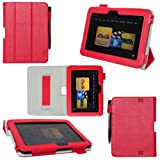 ProCase old generation Kindle Fire HD 7 Case - Tri-Fold Folio Stand Cover for Amazon Kindle Fire HD 7 Inch Tablet (2012 version) auto sleep /wake feature, hand strap (Red) ~ ProCase