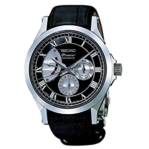 Seiko SPB005J1 - Reloj analógico de caballero automático con correa de piel negra