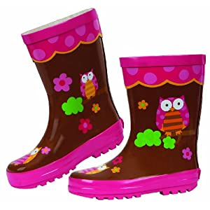 Stephen Joseph Girls 2-6x Girl's Rain Boot, Owl, 8