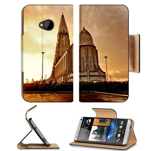 Europe Iceland Hallgrimskirkja Reykjavik Htc One M7 Flip Cover Case With Card Holder Customized Made To Order Support Ready Premium Deluxe Pu Leather 5 11/16 Inch (145Mm) X 2 15/16 Inch (75Mm) X 9/16 Inch (14Mm) Liil Htc One Professional Cases Accessories