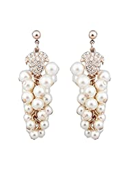 OMezzle White Gold Plated|pearl Stud Earings For Women