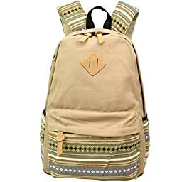 Hmxpls Unisex Fashionable Canvas Zip Bohemia Boho Style Backpack School College Laptop Bag for Teens Girls Boys Students, Khaki